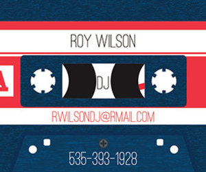 business cards, cool business cards, and dj image
