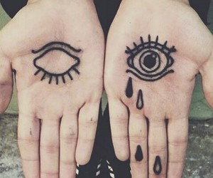 eyes, hand, and tatoo image