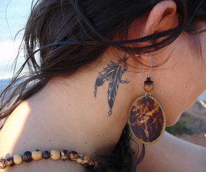 feather, neck, and feather tattoo image