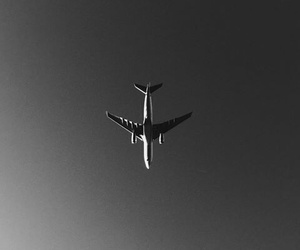 plane, black and white, and sky image