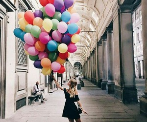 girl, balloons, and colors image