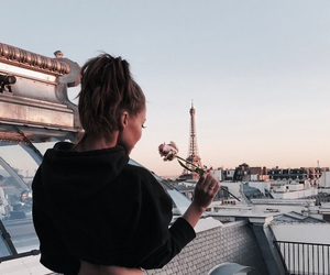 girl, paris, and rose image