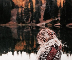 girl, autumn, and nature image