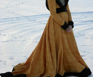 dress, fourrure, and hiver image