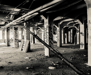 abandoned, black and white, and photography image