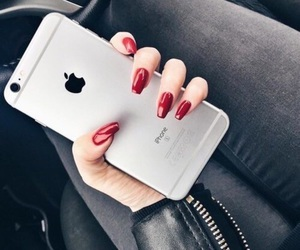 iphone, nails, and red image