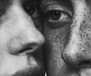 black and white, couple, and freckles image