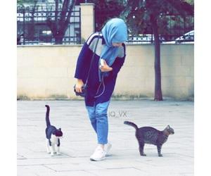 hijab, رمزيات بنات, and cat image