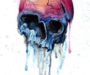 skull, art, and apple image