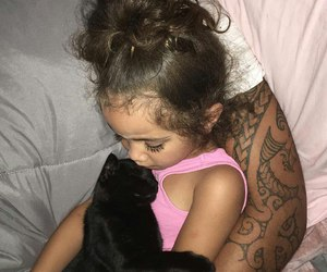 girl, baby, and cat image