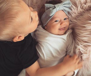 baby, brother, and family image
