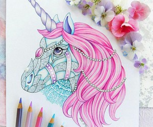unicorn, art, and pink image