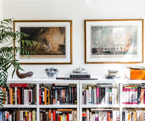 art, bookcases, and home image