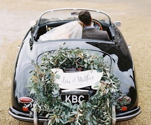 wedding, car, and couple image