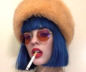 blue hair, blue, and cigarette image