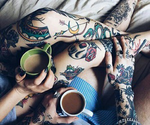 tattoo, couple, and coffee image