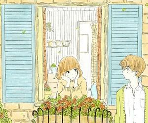 flower, anime couple, and itukaki image