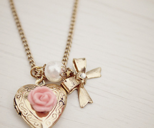 necklace, rose, and heart image
