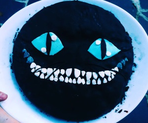alice in wonderland, cake, and cheshire image