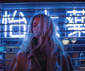 girl, neon, and blue image