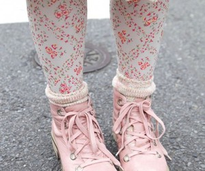 pink, floral, and shoes image