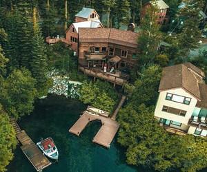 house and lake image