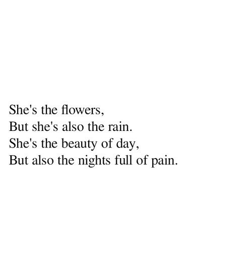 she, flower, rain, beauty, day, pain, nights, quotes