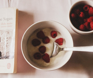 food, book, and raspberry image
