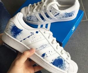 adidas, blue, and superstar image