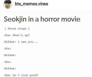bts, horror movie, and jin image
