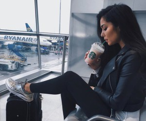 girl, travel, and starbucks image