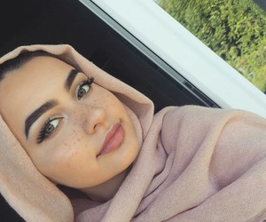 beautiful, freckles, and hijab image