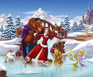 disney, beauty and the beast, and christmas image