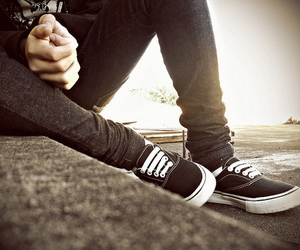 boy, vans, and shoes image