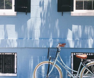 bikes, blue, and Houses image