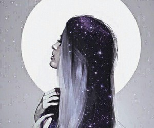 girl, galaxy, and hair image