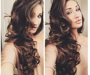 brunette, long, and curles image