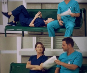 ellen pompeo, meredith grey, and justin chambers image