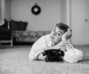 audrey hepburn, black and white, and phone image