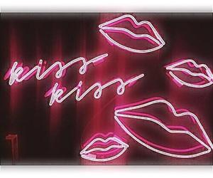 pink, neon, and kiss image