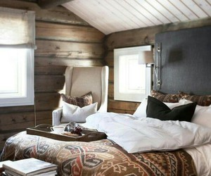 bedroom, home decor, and wood plank walls image