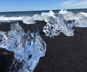 black sand, icy blue, and ice image