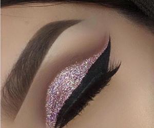 eyebrows, eyelashes, and pink glitter image