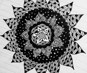 black and white, draws, and mandala image