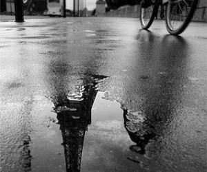 paris, black and white, and rain image
