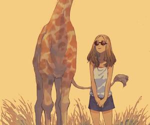 africa, giraffe, and girl image