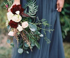 bouquet, burgundy, and dress image