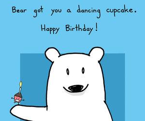 bear, birthday, and cupcake image