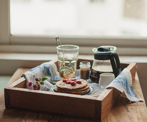 breakfast, pancakes, and coffee image