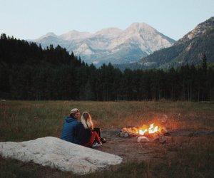 camping, couple, and mountains image